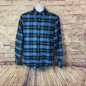 American Eagle Blue Check Button Front Shirt